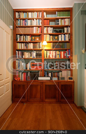 bookshelf stock photo, Classic style wooden bookshelf with a range of interesting books by Paul Prescott