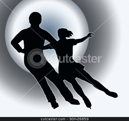 Spotlight Back Silhouette Ice Skater Couple Side by Side Turn stock photo, Spotlight Back Silhouette of Ice Skater Couple Side by Side Turn by Snap2Art