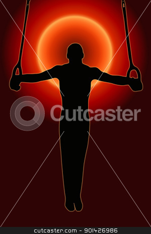 Sunset Back Sport Silhouette Gymnast on Rings stock photo, Sunset Back Sport Silhouette Gymnast on rings