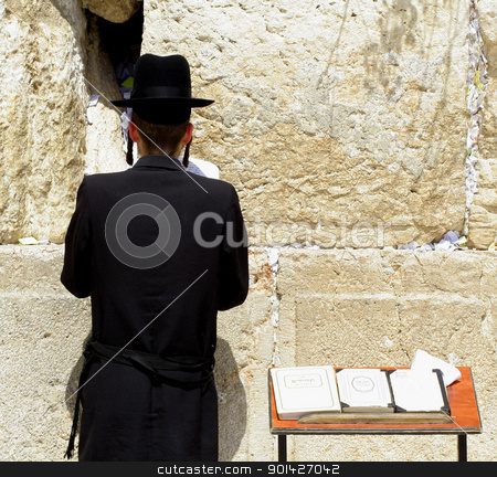 jew praying stock photo, young hasidic jew at the wailing western wall, jerusalem, israel by Paul Prescott