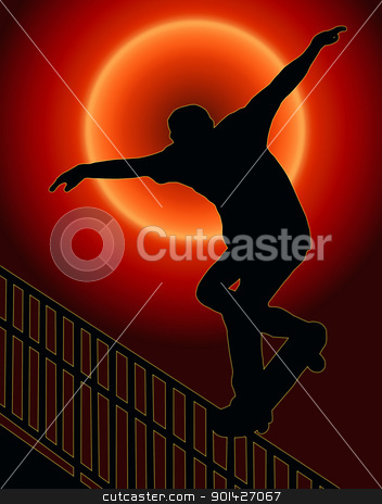 Skateboarding Nosegrind Rail Sunset Back  stock photo, Sunset Back Skateboarding Skater do Nosegrind Rail Slide with Board Silhouette by Snap2Art