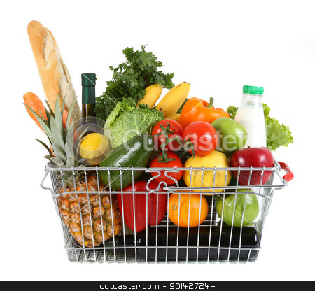 shopping basket stock photo, Shopping basket filled with fresh fruit and vegetables by Paul Prescott