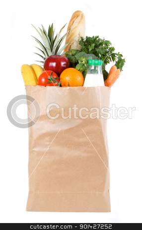 shopping bag stock photo, Brown paper shopping bag filled with fresh fruit and vegetables by Paul Prescott