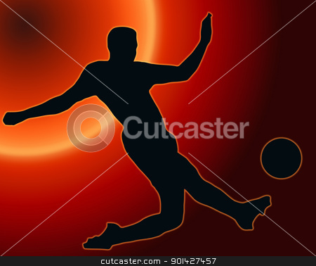 Sunset Back Sport Silhouette Soccer player kicking ball stock photo, Sunset Back Sport Silhouette Soccer player kicking ball  by Snap2Art