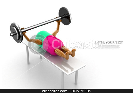Healthy pill lifting dumble  in white background	 stock photo, Healthy pill lifting dumble  in white background	 by dileep
