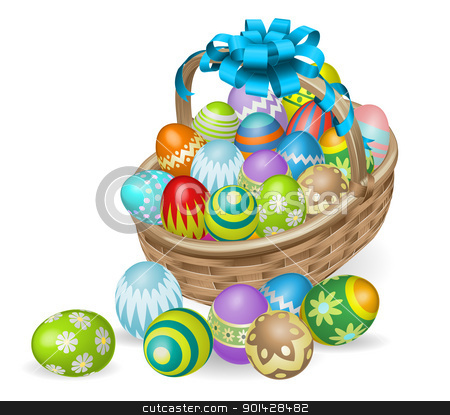 Colourful painted Easter eggs basket stock vector clipart, Easter basket of colourful painted Easter eggs with blue bow by Christos Georghiou