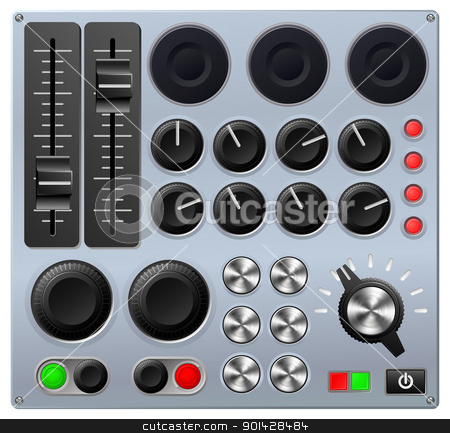 Mixing or control console stock vector clipart, Vector illustration of a mixing console or sound board  by Christos Georghiou