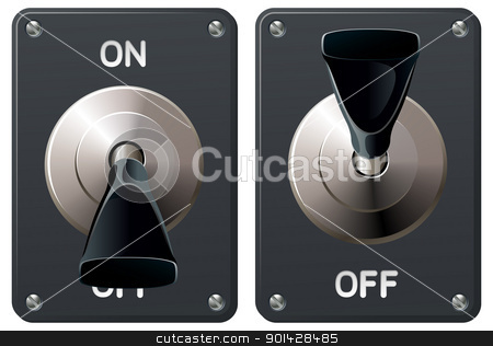 Toggle switch stock vector clipart, A power toggle switch in the on and off positions by Christos Georghiou