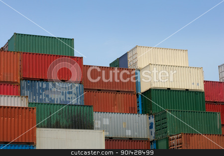 Shipping containers stock photo, Shipping containers waiting to be loaded on a cargo ship.    by © Ron Sumners