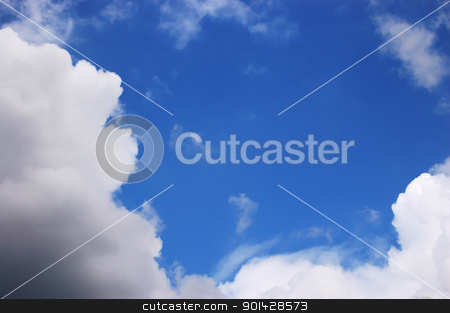 Sky and clouds stock photo, Blue sky and clouds by sutike
