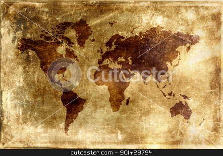 MAP OF THE WORLD stock photo, Map of the world - world illustration by sutike