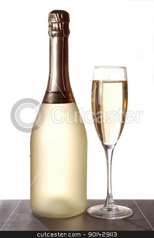 Two glasses of champagne  stock photo, Two glasses of champagne on isolated white background by sutike