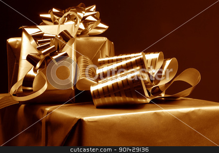 Three gift boxes stock photo, Three gift boxes on dark background by sutike