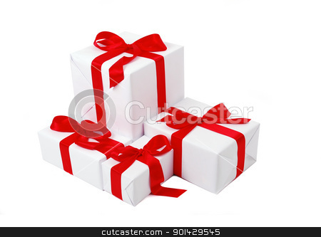 Christmas gift box  stock photo, Christmas gift box with red bow by sutike