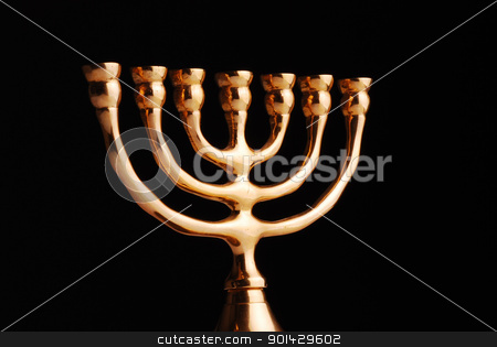 Hanukkah menorah stock photo, Hanukkah menorah on black background by sutike