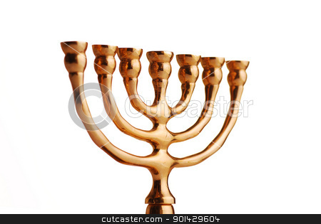 Hanukkah menorah stock photo, Hanukkah menorah isolated on white background by sutike