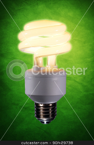 fluorescent light bulb stock photo, Energy saving fluorescent light bulb by sutike