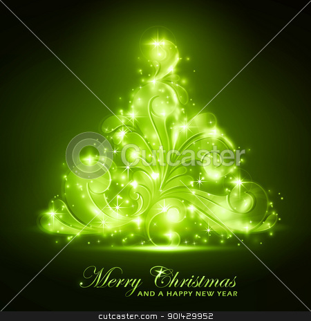 Green Christmas tree with a soft glow and sparkles stock vector clipart, Green Christmas tree made of swirls on a background. Light effects give it a blurry glow and add sparkles. A perfect element in any the Christmas season theme. EPS10 by Ina Wendrock