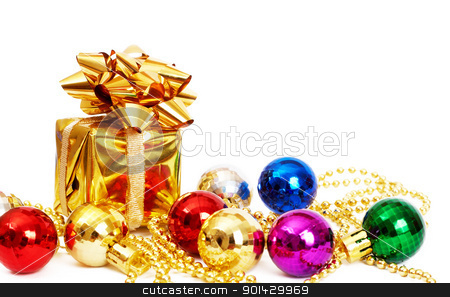 Small gift box and baubles stock photo, Small gift box and colorful baubles isolated on white background with copy space by Elena Weber (nee Talberg)