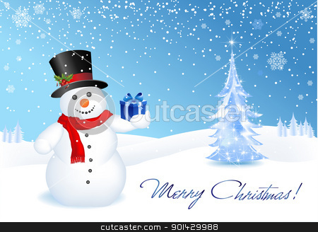 Christmas Offer stock vector clipart, This image is a vector file representing a 3d happy snowman with a gift,  all the elements can be scaled to any size without loss of resolution. by Bagiuiani Kostas