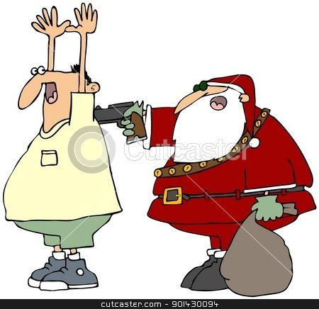 Bad Santa stock photo, This illustration depicts Santa Claus holding up a man at gunpoint. by Dennis Cox