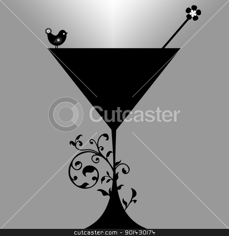 Cocktail drink Silhouette. art, alcohol, antique, background...