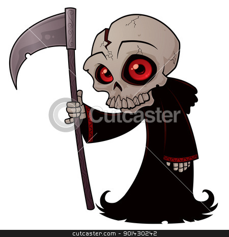 Little Reaper stock vector clipart, Vector cartoon illustration of a little Grim Reaper with red eyes holding a scythe. by John Schwegel