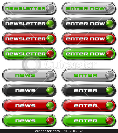 Set Web buttons n. 3 stock photo, Four Web buttons - newsletter, enter now, news, enter  by catalby
