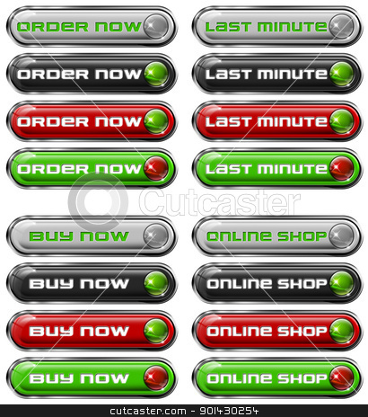 Set Web buttons n. 5 stock photo, Four Web buttons - order now, last minute, buy now, online shop  by catalby