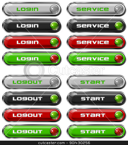 Set Web buttons n. 7 stock photo, Four Web buttons - login, service, logout, start  by catalby