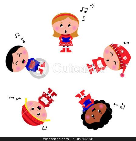 Winter kids singing Silent Night song. Cartoon Illustration.