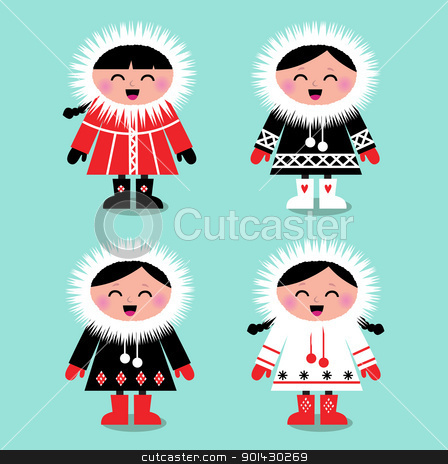 Cute eskimo kids group isolated on white ( vector ) stock vector clipart, Happy eskimo children in retro style. Vector Illustration by Jana Guothova