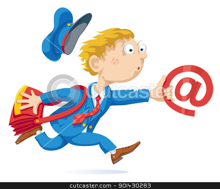 Email stock vector clipart, Running postman with mail bag and message. by mammothis