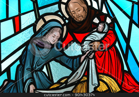 Nativity. stock photo, Stained glass of the nativity. by OSCAR Williams