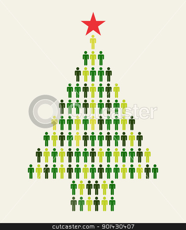 Social media people Christmas tree stock vector clipart, Green Social media business people connection in Christmas tree shape by Cienpies Design