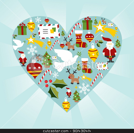 Christmas icon set in heart shape stock vector clipart, Christmas icon set in heart shape background. Vector file available. by Cienpies Design