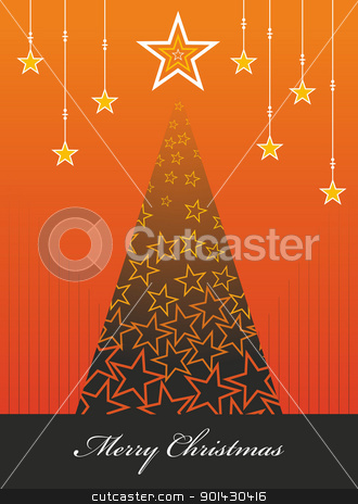 Christmas season background stock vector clipart, Christmas tree season orange palette illustration with snow and stars background. Vector file available. by Cienpies Design