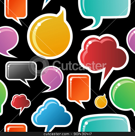 Social media bubbles pattern background stock vector clipart, Social speech bubbles in different colors and forms seamless pattern illustration. Black background vector file available. by Cienpies Design