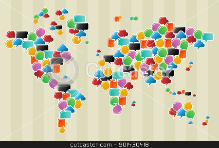 Social media bubbles globe world map stock vector clipart, Social speech bubbles in different colors and forms in globe world map illustration. Vector file available. by Cienpies Design
