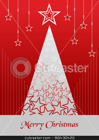 Christmas postage card background stock vector clipart, Christmas tree season illustration with snow and stars background. Vector file available. by Cienpies Design