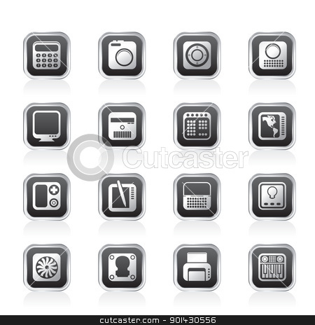 Vector clipart hi tech and technology equipment vector icon set 4