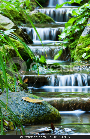 Waterfall stock photo, Beautiful veil cascading waterfalls, mossy rocks  by ARPAD RADOCZY
