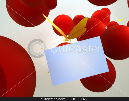 Butterfly with card stock photo, Butterfly with card by moatsem059