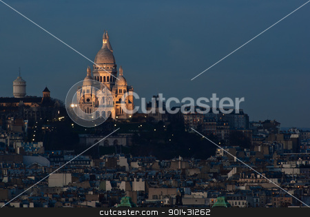 Sacre Couer evening light  stock photo, Sacre Couer in the late afternoon by teusrenes