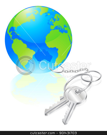 Keys to the world concept stock vector clipart, Keys to the world concept, metaphor for opportunity or success  by Christos Georghiou