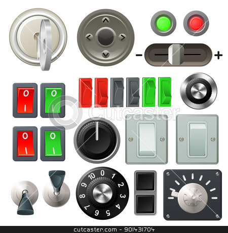 Knob switch and dial design elements stock vector clipart, A set of knobs, switches and dials by Christos Georghiou