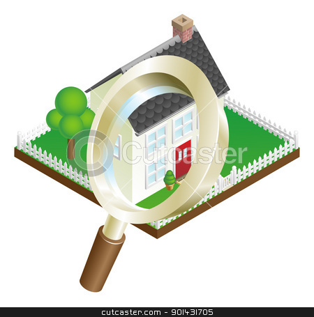 Magnifying glass house search concept stock vector clipart, Magnifying glass zooming on house or house search concept illustration by Christos Georghiou