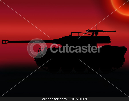 WW2 Sunset Tank Destroyer stock photo, WW2 Sunset Silhouette American M18 Hellcat Tank Destroyer  by Snap2Art