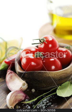 fresh vegetables stock photo, fresh vegetablesand olive oil over white by klenova
