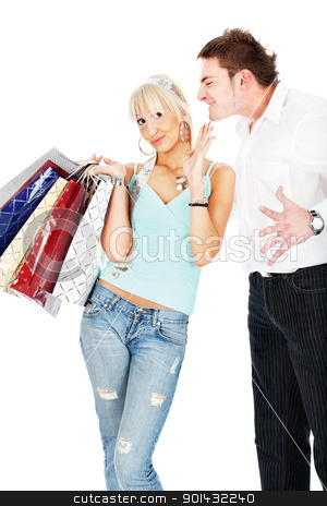Yelling at her stock photo, Man yelling on woman because she spend's too much money in shopping, isolated on white background by iMarin